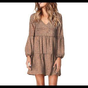 Summer Tunic Dress V Neck Leopard Shift Dress